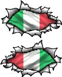 Small handed Oval Ripped Pair Metal Design With Italy Italian Flag Vinyl Car Sticker 85x50mm Each